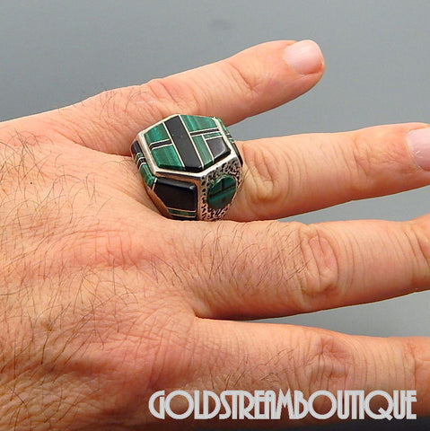 NATIVE AMERICAN VINTAGE ZUNI STERLING SILVER MALACHITE & JET RAISED INLAY SUN FACE HEXAGON RING SIZE 9