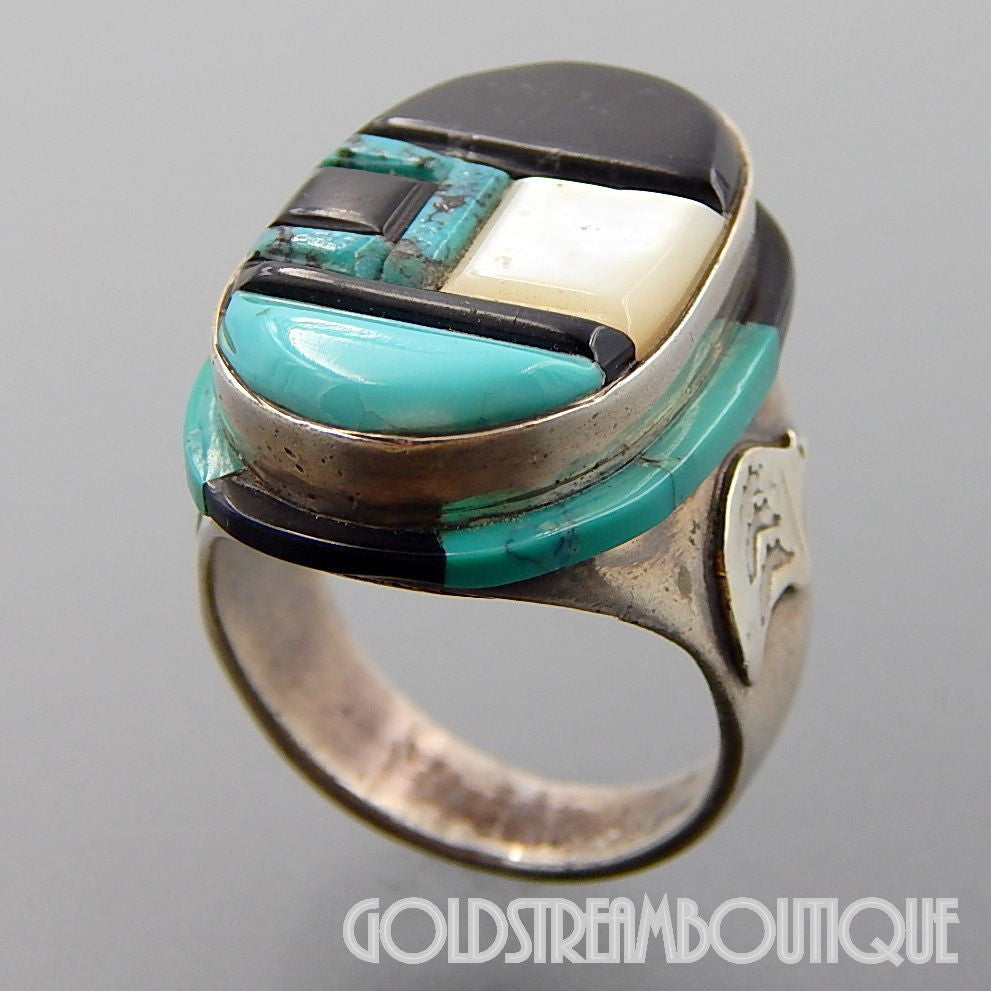 NATIVE AMERICAN RARE VINTAGE ZUNI PYNE STERLING SILVER TURQUOISE JET MOP MOSAIC INLAY OVAL RING SIZE 9.75