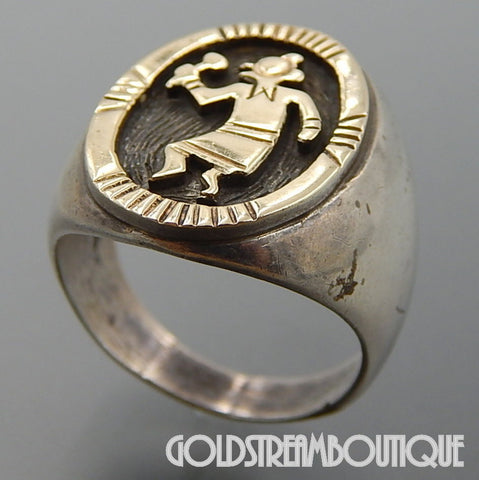 Native American Donald Douglas navajo sterling silver 14k gold kokopelli men's oval ring size 10.25
