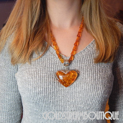 UNIQUE STERLING SILVER HUGE BALTIC AMBER HEART BEADED NECKLACE 22""