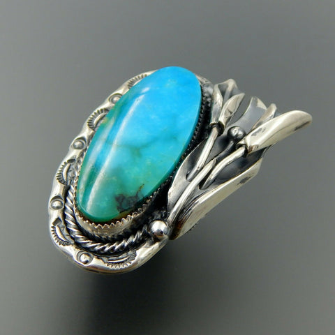 Handcrafted sterling silver oval American turquoise cala lilly statement ring size 8.25