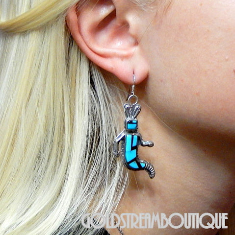 NATIVE AMERICAN UNIQUE NAVAJO STERLING SILVER TURQUOISE JET INLAID MAIDEN KACHINA HOOK EARRINGS