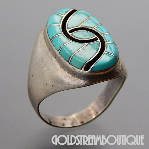 VINTAGE SIGNED ZUNI STERLING SILVER TURQUOISE MOSAIC INLAY HUMMINGBIRD RING SIZE 12.25