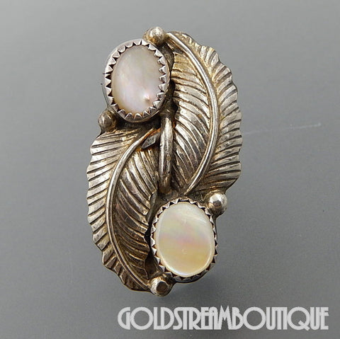 Native American gorgeous vintage Navajo sterling silver mother of pearl bypass feather wide ring size 6.25