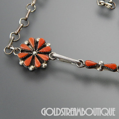 A. Pinto native american zuni sterling silver red coral flower cluster dangle chain necklace