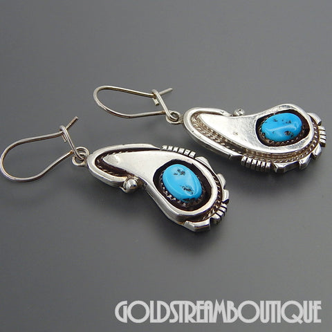 Native American Navajo 925 silver kingman turquoise tear drop shadowbox kidney wire earrings