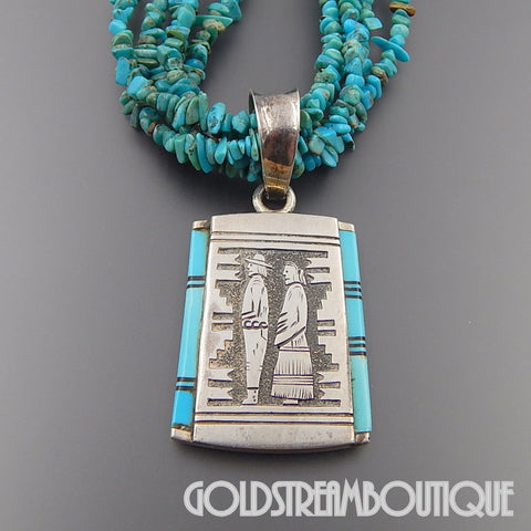 NATIVE AMERICAN RICHARD BEGAY (d.) NAVAJO 925 SILVER TURQUOISE INLAY CEREMONIAL OVERLAY NECKLACE