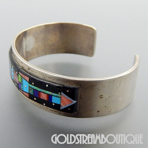 NATIVE AMERICAN VINTAGE NAVAJO STERLING SILVER GEMSTONE MICRO INLAY ETHNIC WIDE CUFF BRACELET