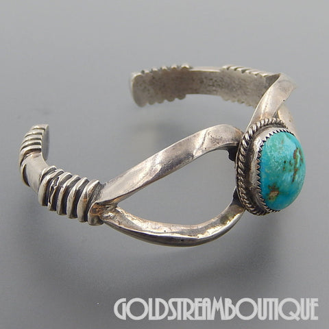 NATIVE AMERICAN WILFORD B. HENRY NAVAJO STERLING SILVER SAND CAST TURQUOISE CUFF BRACELET