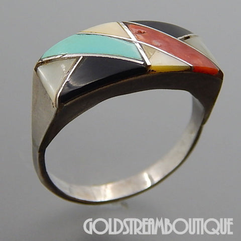 NATIVE AMERICAN VINTAGE ZUNI STERLING SILVER MULTI GEMSTONE MOSAIC INLAY BOLT BAND RING SIZE 7
