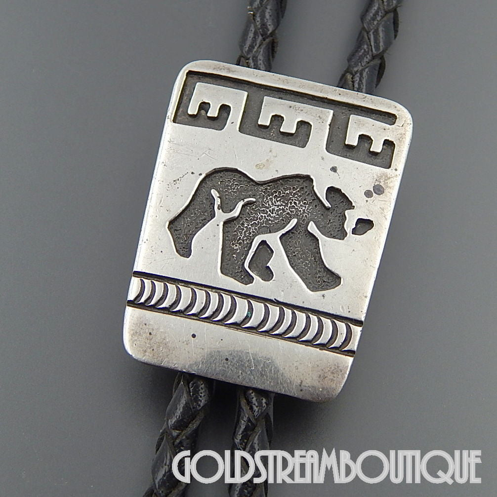 Native American Becenti brothers navajo sterling silver overlay bear ethnic bolo tie black cord  34""
