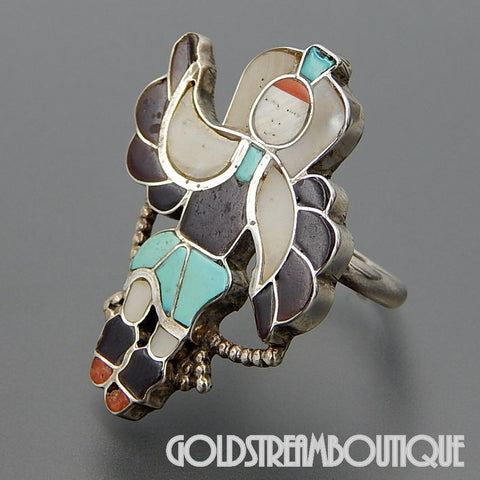 Lincoln Harker native american '92 zuni 925 silver gemstone inlay eagle hoop dancer ring size 7.75