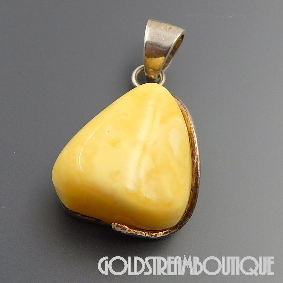 RARE YELLOW EGG YOLK BALTIC AMBER IN STERLING SILVER SETTING TRIANGLE PENDANT