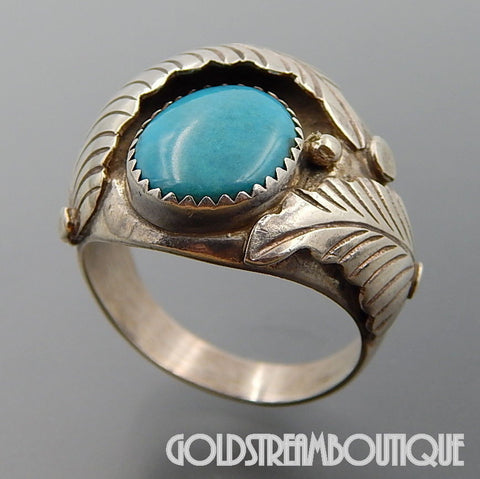 NATIVE AMERICAN VINTAGE NAVAJO STERLING SILVER TURQUOISE FEATHERS OVERLAP RING SIZE 11.75