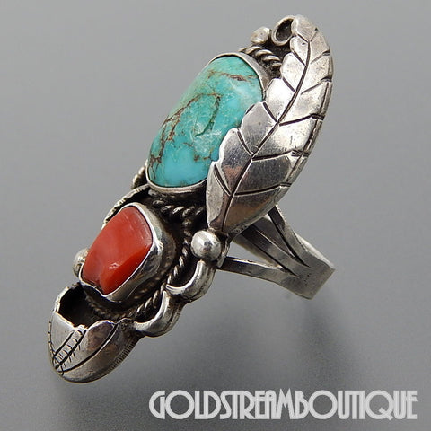 NATIVE AMERICAN VINTAGE NAVAJO STERLING SILVER TURQUOISE CORAL FEATHER TRADITIONAL RING SIZE 5.75