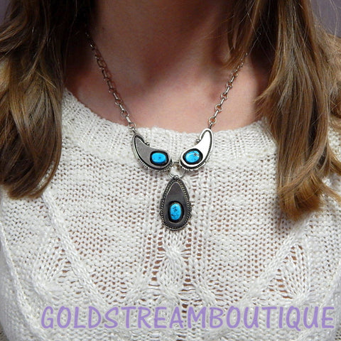 Native American Harry B Yazzie Navajo sterling silver turquoise shadowbox 3 element necklace
