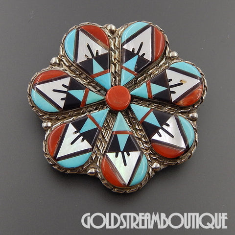 Native American WILSON & CAROLYN NIIHA ZUNI STERLING SILVER GEMSTONE MOSAIC INLAY FLOWER PENDANT