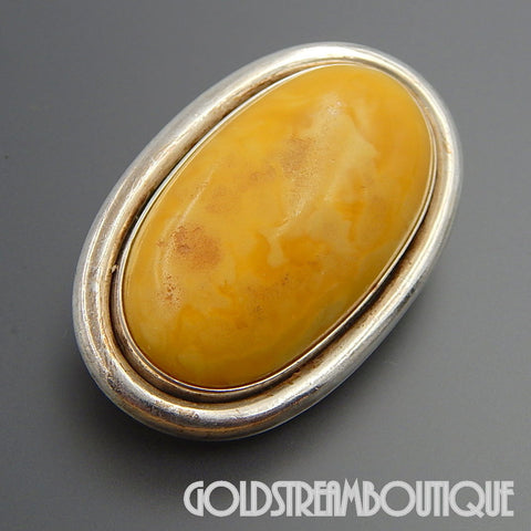 MARVELOUS OVAL YELLOW EGG YOLK BALTIC AMBER STERLING SILVER BROOCH PIN