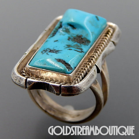 NATIVE AMERICAN VINTAGE NAVAJO STERLING SILVER TURQUOISE RECTANGULAR STATEMENT UNISEX RING SIZE 7.25