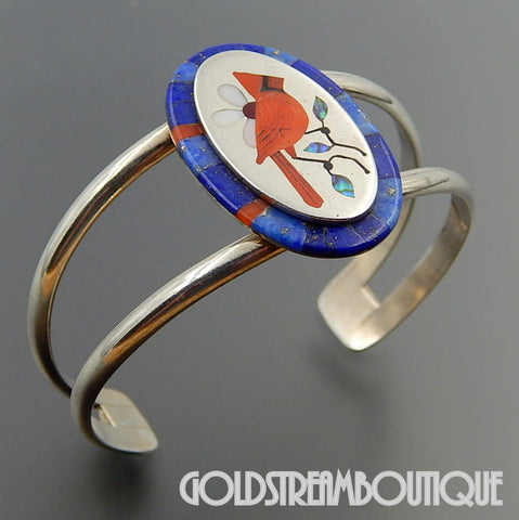 Native American A.D. Panteah zuni sterling silver gemstone inlay red cardinal bird cuff bracelet
