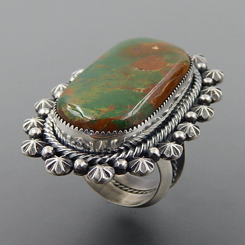 Handcrafted magnificent green turquoise sterling silver statement wide ring - size 9.25
