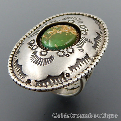 Handcrafted American Green Turquoise Sterling Silver Oval Wide Shadowbox Ring - Size 9.25