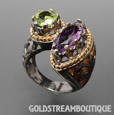 Byzantine empire inspired 925 silver marquise amethyst & round peridot ring size  6
