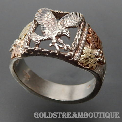 STERLING SILVER TWO TONE GOLD EAGLE SIGNET MEN'S RING SIZE 11.75