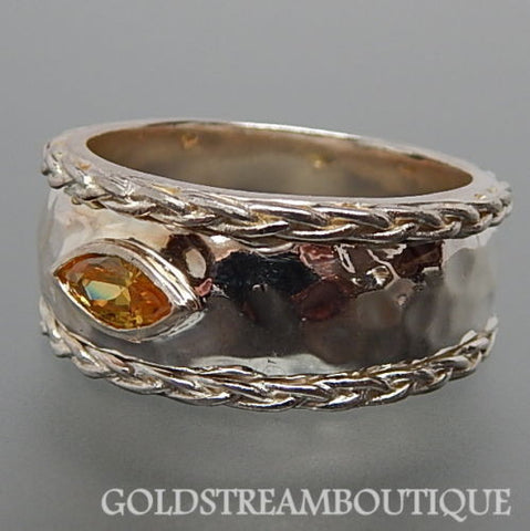 Isabel Wolfe 925 silver citrine hammered design gypsy ring size 11.5