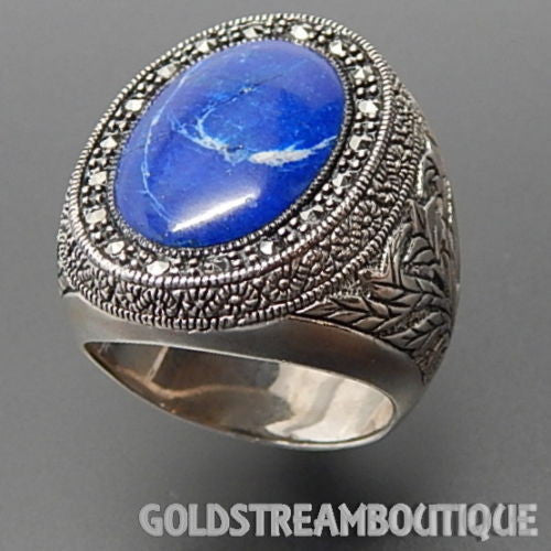 925 Silver lapis lazuli marcasite intricate floral ornate ring size 6.5