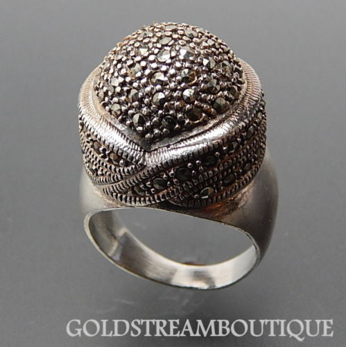 925 Silver marcasite accents black caviar bohemian ring size 11.5