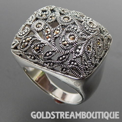 925 Silver marcasite floral open design wide domed ring size 7.75