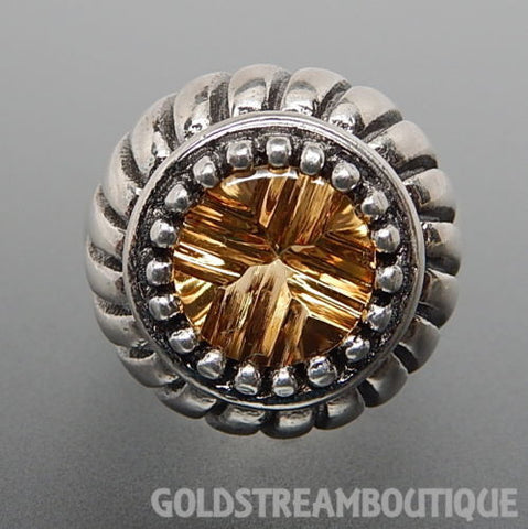 Enjoyable 925 silver citrine cabochon fancy setting ribbed dome cocktail size 7
