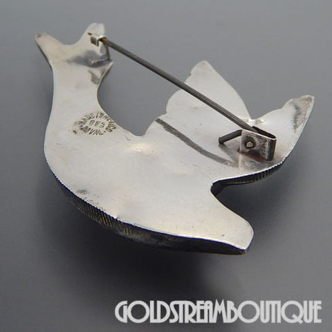 Early mexico vintage signed doval sterling sliver dove swallow bird hollow pin