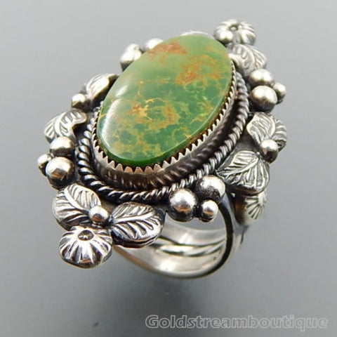 Handcrafted American Deep Green Turquoise Sterling Silver Wide Floral Ring - Size 8.75