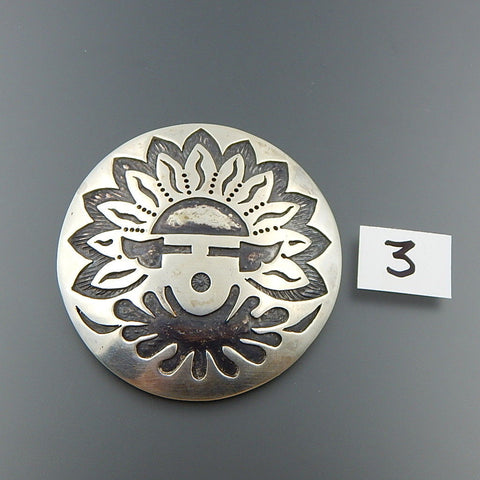 Handcrafted sterling silver overlay round sun face pin brooch pendant combo