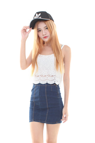 DENIM SKIRT IN DARK WASH