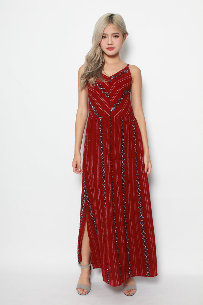DALLYCE MAXI IN MAROON RED