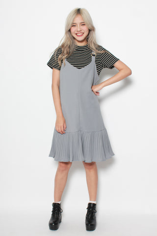 CAMILLE MERMAID PLEAT SLIP DRESS IN GREY