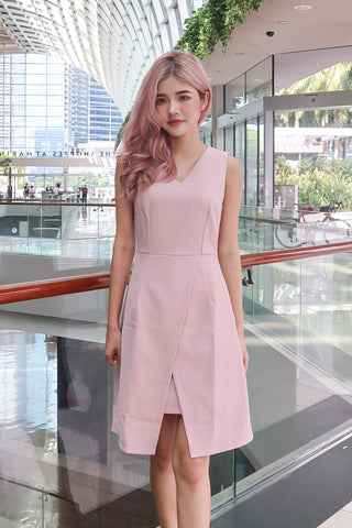 CADENCE SLIT DRESS IN DUSTY PINK