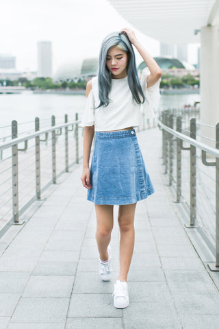 DENIM A LINE FLAP SKIRT