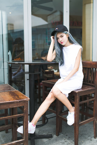 BASIC HIGH NECK LONG TEE DRESS IN WHITE