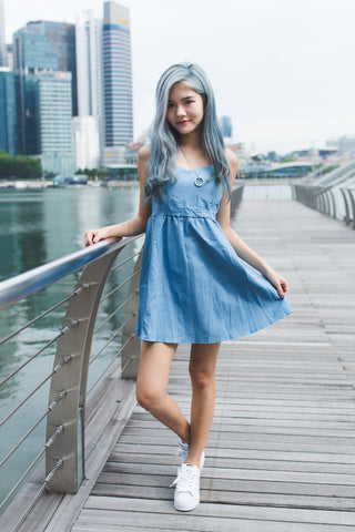 DENIM CROSS CROSS SPAG DRESS