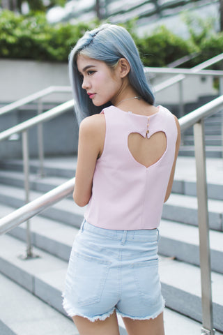 CUT OUT HEART TOP IN PINK