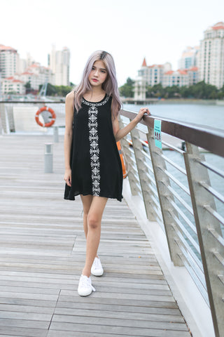 GOING WITH THE FLOW EMBROIDERED DRESS