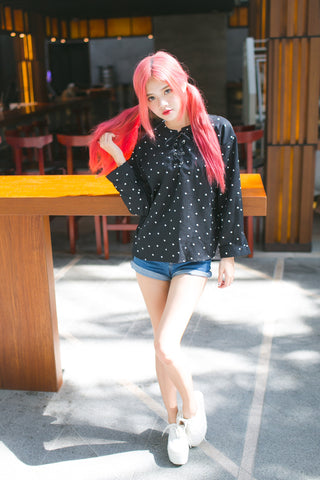 POLKA DOT SHOELACE TOP IN BLACK
