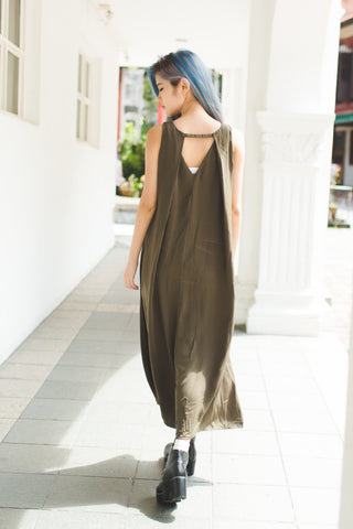ABBIE OPEN BACK MAXI IN OLIVE