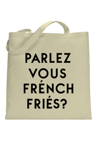 social sunday parlez vous french fries tote bag