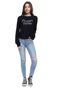 social sunday champagne and cupcakes pullover sweatshirt