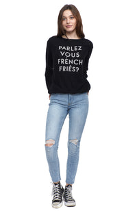 social sunday parlez vous french fries pullover sweatshirt